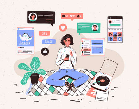 Young woman sitting on floor at home, holding smartphone and chatting in messenger or social network. Internet communication, online instant messaging or information exchange. Vector illustration Иллюстрация