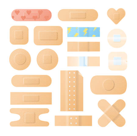 Collection of adhesive bandages, plasters or patches isolated on white background. Bundle of medical dressings of various types for wounds and injuries. Modern vector illustration in flat style Ilustrace