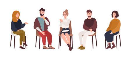 Hombres y mujeres sentados en sillas y hablando con psicoterapeuta o psicólogo. Sesión de terapia de grupo, reunión psicoterapéutica o ayuda psicológica. Ilustración de vector de estilo plano moderno