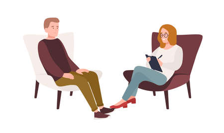 Male patient in armchair and female psychologist, psychoanalyst or psychotherapist sitting in front of him and talking. Psychotherapeutic session, psychiatric aid. Flat cartoon vector illustration Ilustracja