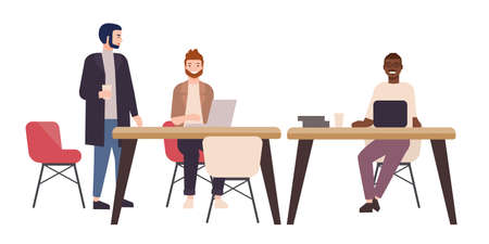 Smiling people or office workers sitting at tables and working on laptop computers. Happy freelancers in co-working area or shared workspace. Colorful vector illustration in flat cartoon style Stock Illustratie