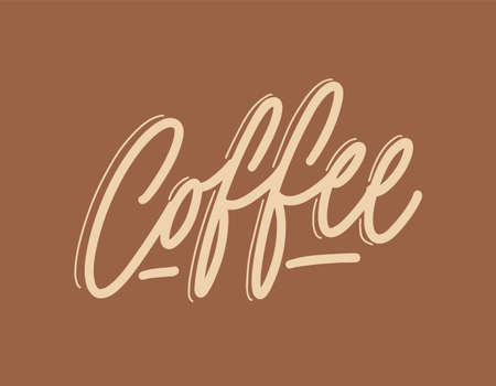 Coffee word handwritten with elegant cursive calligraphic font or script. Stylish decorative hand lettering, text or inscription. Trendy vector illustration for t-shirt, apparel or sweatshirt print Illustration