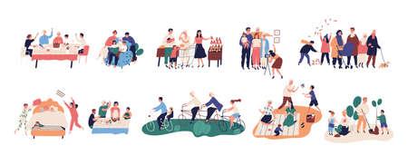 Collection de grands-parents passant du temps avec des proches - marcher, lire des livres, faire du vélo, fêter un anniversaire, acheter de la nourriture, cuisiner, planter des arbres. Illustration vectorielle de dessin animé plat Vecteurs