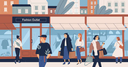 Fashion outlet, mass market apparel store, trendy clothing boutique, shopping center or mall and people, buyers or customers walking along city street. Flat cartoon colorful vector illustration