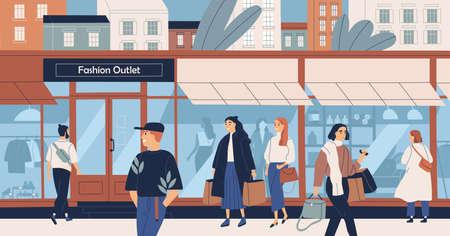 Mode-outlet, massamarkt kledingwinkel, trendy kledingboetiek, winkelcentrum of winkelcentrum en mensen, kopers of klanten die langs de stadsstraat lopen. Platte cartoon kleurrijke vectorillustratie Vector Illustratie