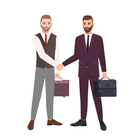 Pair of businessmen, business partners, employees or office workers shaking hands. Professional cooperation between colleagues, partnership, agreement, deal. Vector illustration in flat cartoon style