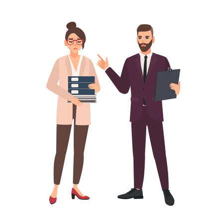 Male boss critisizing female employee overwhelmed with work isolated on white background. Chief or director and assistant or office worker. Conflict scene. Modern flat cartoon vector illustration.