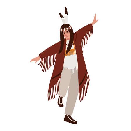 Baile de indios americanos con ropa étnica. Hombre realizando danza ritual de los pueblos indígenas de América. Personaje de dibujos animados masculino aislado sobre fondo blanco. Ilustración de vector de estilo plano Ilustración de vector