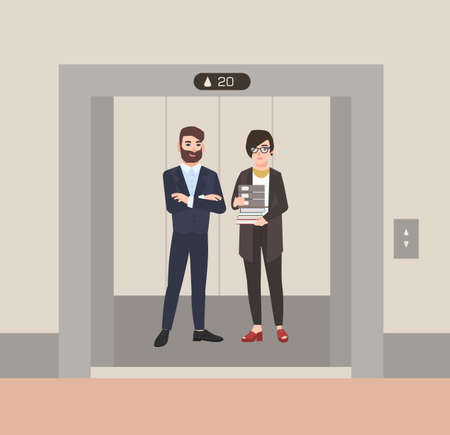 Pair of happy friendly male and female employees or office workers standing in elevator with open doors. Colleagues waiting inside lift stopped on floor of building. Flat cartoon vector illustration