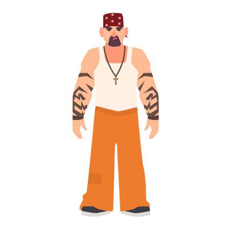 Hombre barbudo serio con tatuajes. Sospechoso, criminal o arrestado en uniforme de preso. Detenido en cárcel, prisión, centro de detención. Personaje de dibujos animados masculino plano. Ilustración de vector colorido