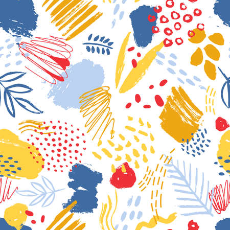 Colorful seamless pattern with paint traces, brush strokes, stains, marks, scribble and abstract leaves on white background. Vector illustration in contemporary art style for textile print, wallpaper