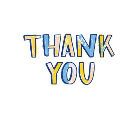 Thank You word handwritten with funky calligraphic font decorated by bright colored dots. Creative hand lettering. Trendy decorative vector illustration for t-shirt, apparel or sweatshirt print