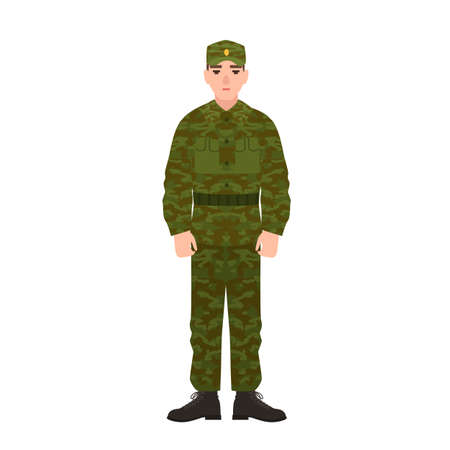 Military man of Russian armed force wearing camouflage army uniform. Soldier, conscript or infantryman isolated on white background. Male cartoon character. Vector illustration in flat cartoon style
