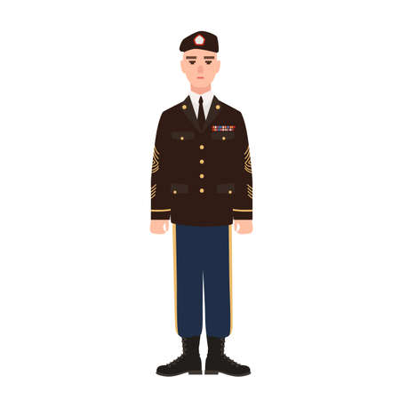 Military man of USA armed force wearing full dress uniform and beret. American soldier, conscript or infantryman isolated on white background. Male cartoon character. Flat cartoon vector illustration