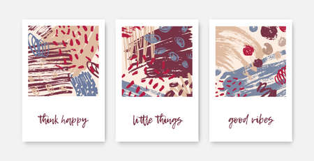 Set of modern decorative card templates with inspirational phrases or messages and abstract stains, blots, brush strokes, scribble, paint traces. Trendy vector illustration in contemporary art style Stok Fotoğraf - 124766155