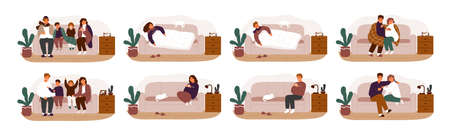 Collection of ill or sick and recovered people on sofa or couch. Bundle of adults and children having influenza, common cold or infection and recovering. Vector illustration in flat cartoon style Standard-Bild - 124766156