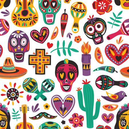 Holiday seamless pattern with traditional Day Of The Dead decorations on white background. Festive backdrop. Motley flat cartoon vector illustration for wrapping paper, fabric print, wallpaper