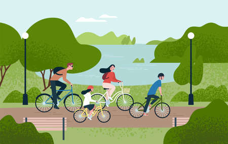 Cute family riding bicycles. Mom, dad and children on bikes at park. Parents and kids cycling together. Sports and leisure outdoor activity. Colorful vector illustration in flat cartoon style Çizim
