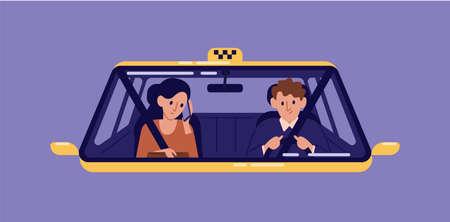 Taxifahrer und junge Frau sitzen auf dem Vordersitz und telefonieren im Fahrerhaus durch die Windschutzscheibe. Mädchen mit Smartphone mit Autoservice. Bunte Vektorillustration der flachen Karikatur