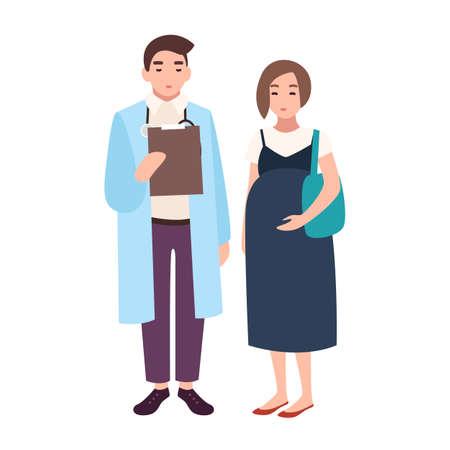 Male doctor, medical adviser, obstetrician or gynecologist and pregnant woman or female patient. Visit to clinic or hospital, meeting with physician. Vector illustration in flat cartoon style