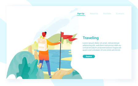 Web banner template with backpacker, hiker, traveller or explorer and place for text. Hiking, backpacking, trekking, adventure tourism and travel. Modern flat vector illustration for advertisement.
