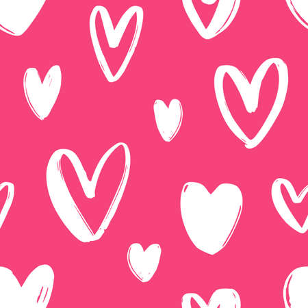 Hand drawn seamless pattern with hearts on bright pink background. Festive backdrop with love, passion and romance symbols. Vector illustration for Valentines day textile print, wrapping paper