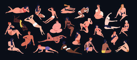 Set of people of different figure type. Various men and women dressed in swimwear isolated on black background. Body positivity, diversity and self-acceptance. Flat cartoon vector illustration