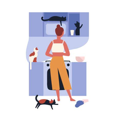 Dame folle de chat debout dans la cuisine pleine de ses chatons et cuisine. Scène d'accueil avec une femme et ses animaux domestiques. Propriétaire d'animal solitaire. Vue arrière. Illustration vectorielle coloré dans un style cartoon plat
