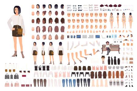 Stijlvolle set voor het maken van jonge vrouwen of animatiekit. Bundel lichaamsdelen, trendy kleding, kapsels, gezichtsuitdrukkingen. Vrouwelijke stripfiguur. Voor-, zij-, achteraanzichten. Platte vectorillustratie Vector Illustratie