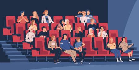 Personas sentadas en sillas en el cine o en el auditorio del cine. Hombres jóvenes y ancianos, mujeres y niños viendo películas o películas. Espectadores o cinéfilos. Ilustración de vector de dibujos animados plana