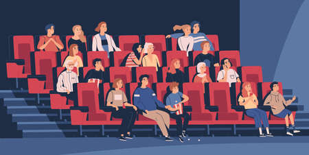 People sitting in chairs at movie theater or cinema auditorium. Young and old men, women and children watching film or motion picture. Viewers or moviegoers. Flat cartoon vector illustration