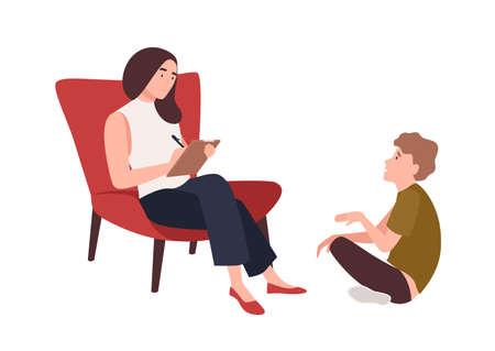 Dialog między kobietą psychologiem, psychoanalitykiem lub psychoterapeutą a dzieckiem siedzącym przed nią. Psychoterapia dziecięca, pomoc psychoterapeutyczna dla młodzieży. Ilustracja wektorowa płaski kreskówka Ilustracje wektorowe