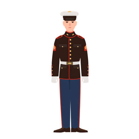 Soldier of USA armed force wearing parade uniform and cap. American military man, sergeant or infantryman isolated on white background. Male cartoon character. Flat colorful vector illustration