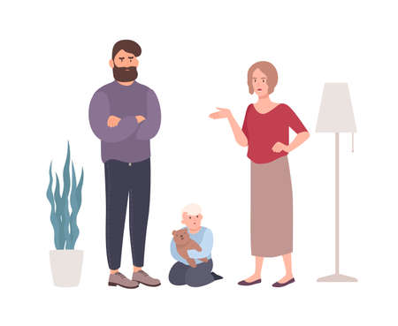 Parents quarreling or fighting in presence of little son. Married couple shouting at each other. Problem or conflict in family. Unhappy marriage and divorce. Flat cartoon vector illustration