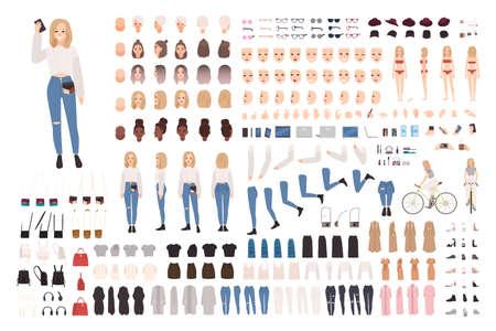 Trendy jonge meisjes bouwset of bouwpakket. Collectie van lichaamselementen in verschillende houdingen, modieuze kleding. Vrouwelijke stripfiguur. Voor-, zij-, achteraanzichten. Platte vectorillustratie