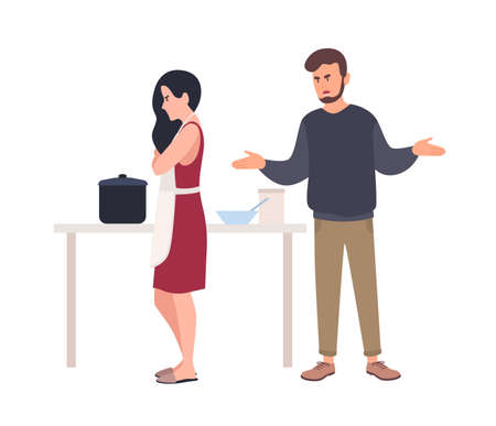 Husband shouting at wife while she is cooking in kitchen. Relationship problem between spouses, romantic partners. Domestic abuse, unhappy marriage, family conflict. Flat cartoon vector illustration. Illustration