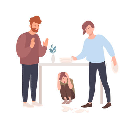 Mother and father brawling or quarreling in presence of child hiding under table. Parents shouting at each other. Conflict between mom and dad. Unhappy family. Flat cartoon vector illustration