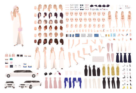 Fashionable celebrity woman animation set or DIY kit. Bundle of body elements, gestures, postures, stylish evening outfits. Female cartoon character. Front, side, back views. Flat vector illustration
