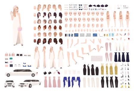 Modieuze celebrity vrouw animatie set of DIY kit. Bundel van lichaamselementen, gebaren, houdingen, stijlvolle avondoutfits. Vrouwelijke stripfiguur. Voor-, zij-, achteraanzichten. Platte vectorillustratie