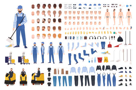 Janitor creation set or constructor kit. Bundle of cleaner's body parts, gestures, uniform, equipment, floor polisher isolated on white background. Front, side, back views. Flat vector illustration