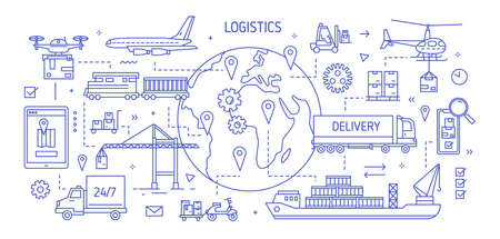 Horizontal banner with various freight transport carrying goods drawn with contour lines. Cargo shipping, international delivery, world trade. Monochrome vector illustration in modern linear style Vector Illustration