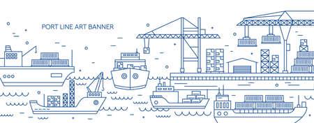 Poziomy baner z portem morskim, morskim terminalem towarowym, statkami towarowymi lub statkami przewożącymi kontenery narysowane konturami. Transport morski. Monochromatyczna ilustracja wektorowa w stylu liniowym