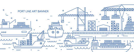 Horizontal banner with sea port, marine cargo terminal, freight vessels or ships carrying containers drawn with contour lines. Maritime transportation. Monochrome vector illustration in linear style