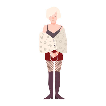 Young sad woman or with handcuffs isolated on white background. Suspect, person arrested, detained or punished for prostitution. Female cartoon character. Flat vector illustration Vektorové ilustrace