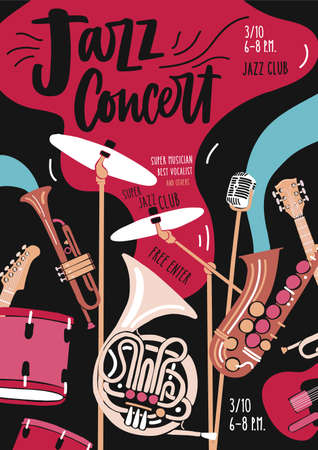 Flyer or invitation template for jazz music performance or concert with musical instruments and elegant lettering. Vector illustration in modern flat style for event promotion, advertisement