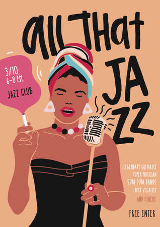 Poster, flyer or invitation template for jazz music performance, event or concert with African American female singer or vocalist singing in microphone. Modern vector illustration in flat style