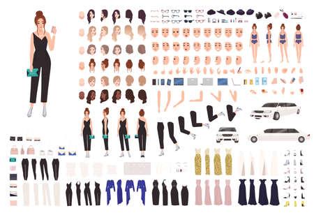 Elegantes Animationsset oder Konstruktor-Kit für junge Frauen. Sammlung von Körperteilen, Gesten, Körperhaltungen, Abendkleidung. Weibliche Zeichentrickfigur. Vorder-, Seiten-, Rückansichten. Flache Vektorillustration