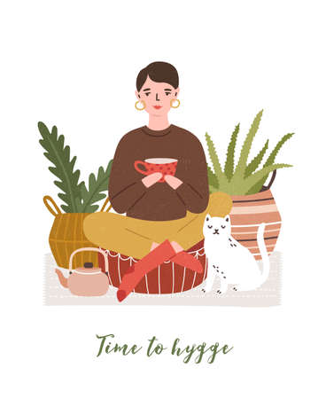 Cute young woman drinking tea, cat, houseplants and Time To Hygge slogan handwritten with cursive font. Comfortable house or apartment decorated in cozy Scandic style. Flat vector illustration Illustration
