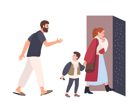 Mother leaves home with children, father stays alone. Conflict between parents. Spouses breaking up. Unhappy marriage, relationship problem in family, divorce. Flat cartoon vector illustration