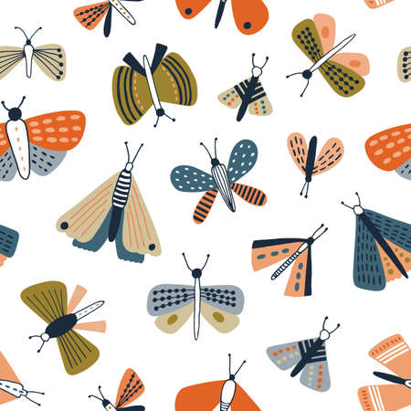 Childish seamless pattern with colorful moths on white background. Backdrop with butterflies, flying nocturnal winged insects. Flat vector illustration in naive style for textile print, wallpaper Ilustração